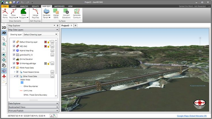 HEC-RAS 3D visualization of the Gill-Montague Bridge. Officially the Turners Falls-Gill Bridge, the Gill-Montague Bridge is a steel deck truss bridge crossing the Connecticut River in Massachusetts. It connects the Town of Gill with the village of Turners Falls in the Town of Montague. https://en.wikipedia.org/wiki/Gill%E2%80%93Montague_Bridge