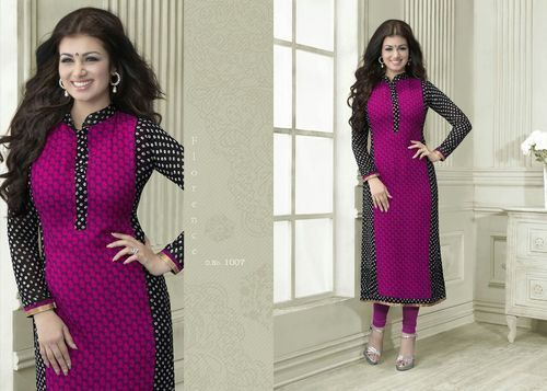 """Designer Wear Printed Georgette Kurti with American Crepe lining in Magenta and Black color. Length: 45"""" and Size: L, XL."""