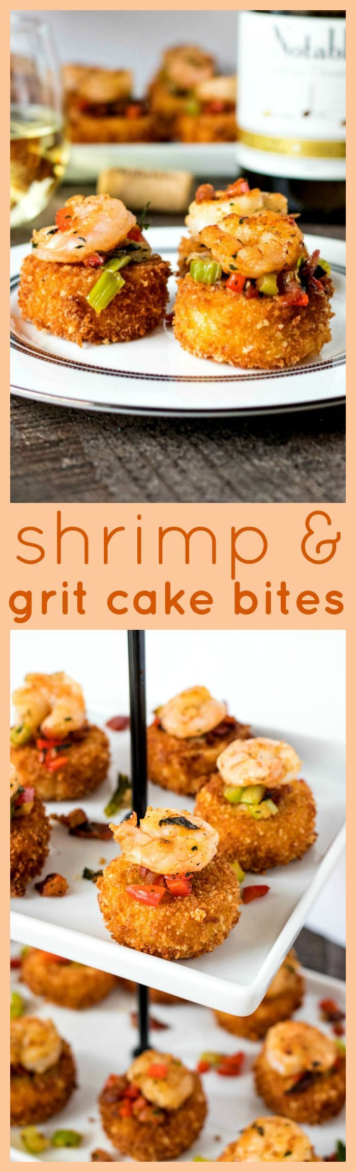 Shrimp & Grit Cake Bites - Ultra creamy grit patties are fried and served with a buttery sauteed shrimp and crispy bacon to create an appetizer that your guests will go crazy for. Pairs perfectly with the flavors of Chardonnay wine! #Chardonnation #SpringWine #ad msg 4 21+