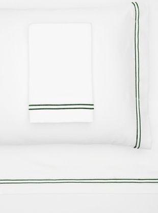55% OFF Garnier-Thiebaut Nice Hotel Style Sheet Set (White/Forest Green)