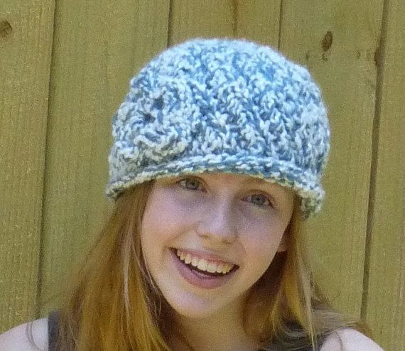Girls Blue And White Hat Hat with Flower Blue and by lovemyknits