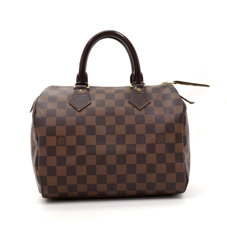 Hand-held Louis Vuitton Speedy 25 bag in Damier canvas. It offers light weight elegance in a compact format. Inspired by the famous keep all travel bag, it features a zip closure. This hand held bag is perfect for carrying everyday essentials. #LouisVuitton #Handbags @fmasarovic