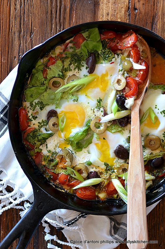 mediterranean eggs with olives & mozzarella