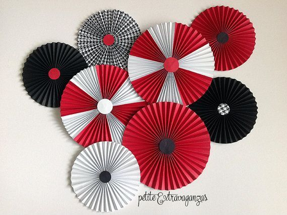 Paper Rosettes/ Fans - Red, Black, White Mickey Mouse Party Decorations Red,