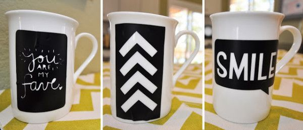 sharpie mug art --she used vinyl as a stencil! turned out so cute!!! cut with a cameo