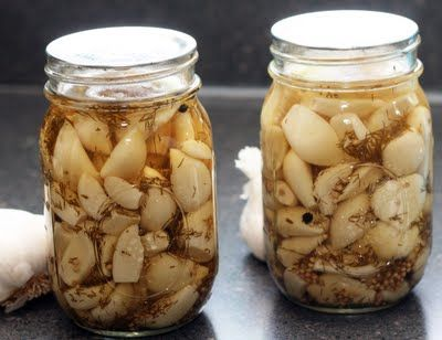 Dill Pickled Garlic       Ingredients:  4 cups peeled garlic cloves  1 1/2 cups white vinegar  1 1/2 cups water  2 tablespoons pickling salt  2 tablespoon minced fresh dill  1 teaspoons black peppercorns  2 teaspoons yellow mustard seeds