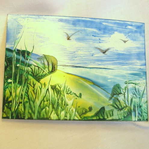 ACEO.Original encaustic Art. Wax Painting. Hidden Beach in Cornwall.