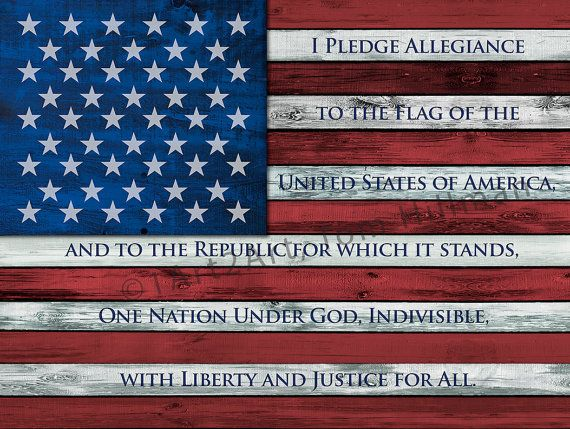 American Flag Art, I Pledge Allegiance to the Flag, Patriotic, Distressed Wood Look, 100% American, Canvas Print