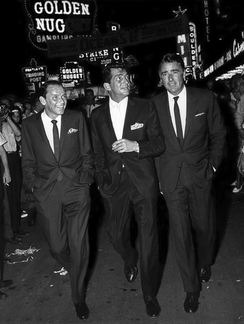 "Frank Sinatra, Dean Martin and Peter Lawford, leaving the ""Golden Nugget Gambling Hall."""