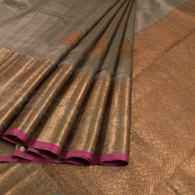 Handwoven Grey Banarasi Kadhwa Tussar Silk Saree With Floral Butis 10013338 - AVISHYA.COM