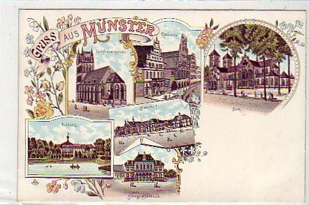 Münster in Westfalen Litho Schloss,Kirche,Bahnhof ca 1900