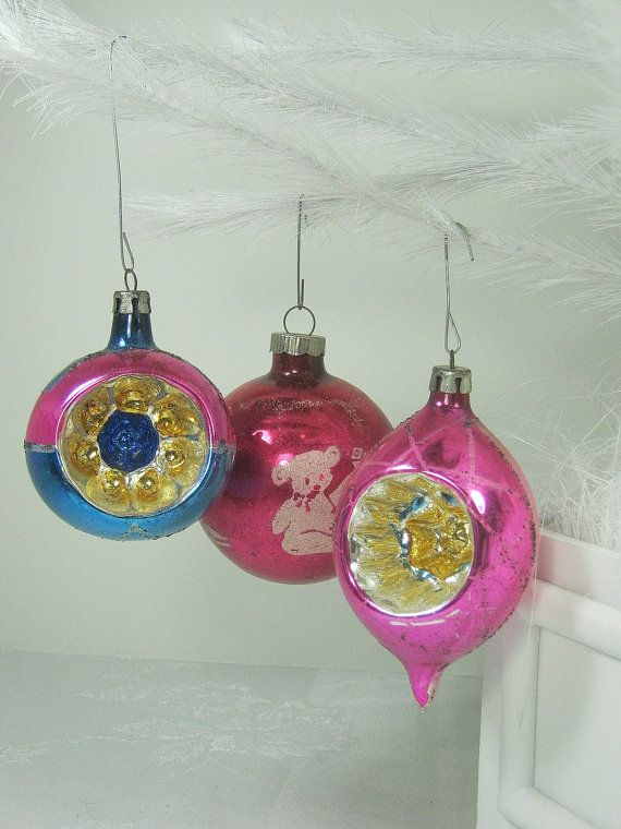 Vintage MERCURY GLASS ORNAMENTS Raspberry by LavenderGardenCottag, $12.00