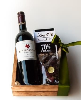Pinotage Club Crate from Bespoke Bouquet R449  A great idea as a gift for a man... a bottle of Beyerskloof Pinotage, biltong and chocolate. A great gift hamper!