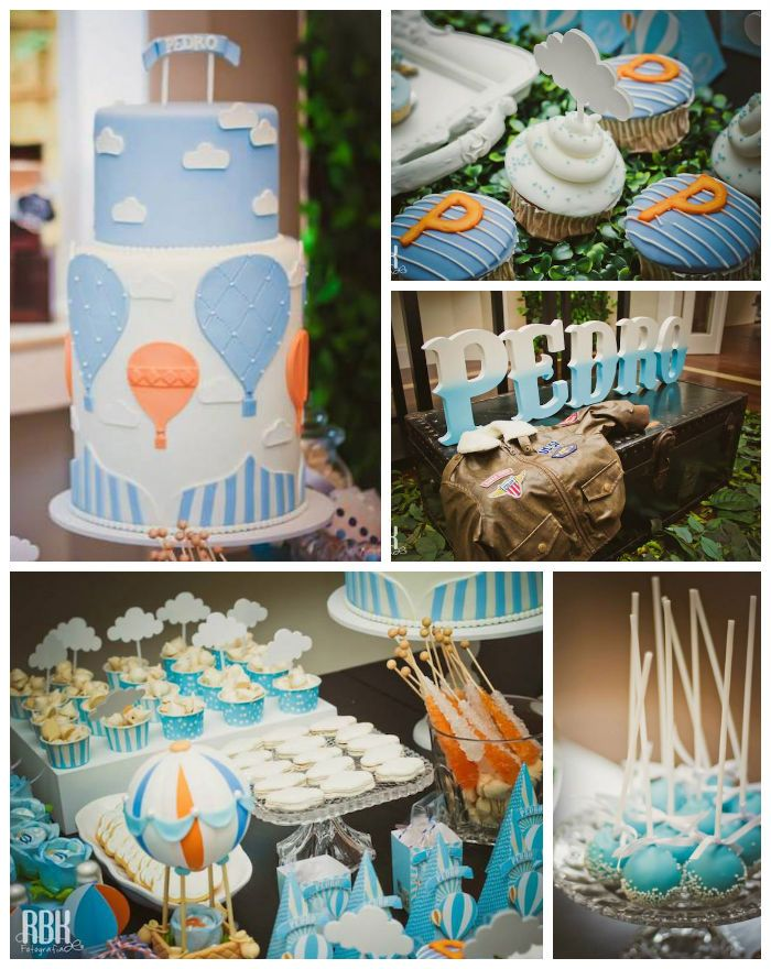 Hot air balloon themed baby shower with so many darling for Balloon art for baby shower