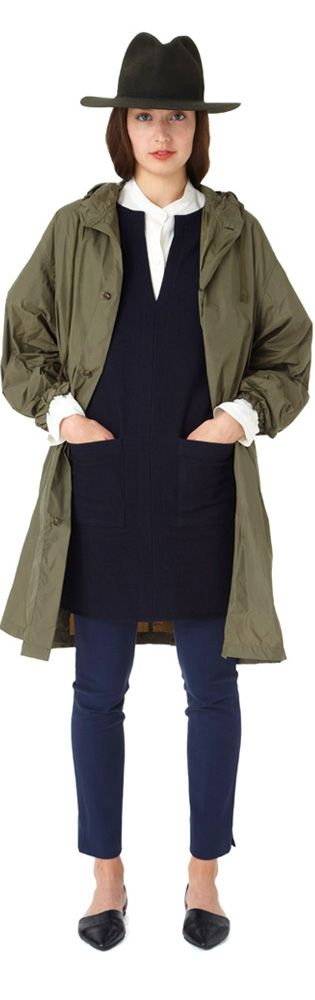 Shop | Apiece Apart, military green trench, black tunic, cropped navy pants, black loafers #minimalist #style #fashion
