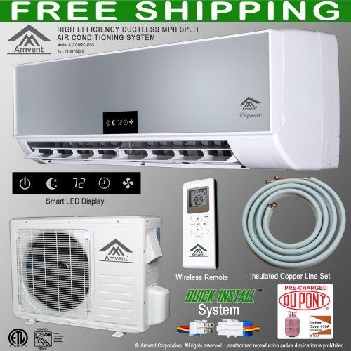 Amvent 12000 BTU 1 Ton Ductless Wall Mount Mini Split Room Air Conditioner AC Conditioning Cooling System Unit by Amvent. $849.99. Equipped with QUICK INSTALL system - Cuts Installation Time in Half. System is pre-charged with premium DuPont R410A refrigerant - No Additional Charging Required. Complete System.  Includes Indoor Unit (Evaporator), Outdoor Unit (Condensing Unit), Insulated Copper Line Set, Wireless Remote and Complete Installation Kit. 12000 BTU ...