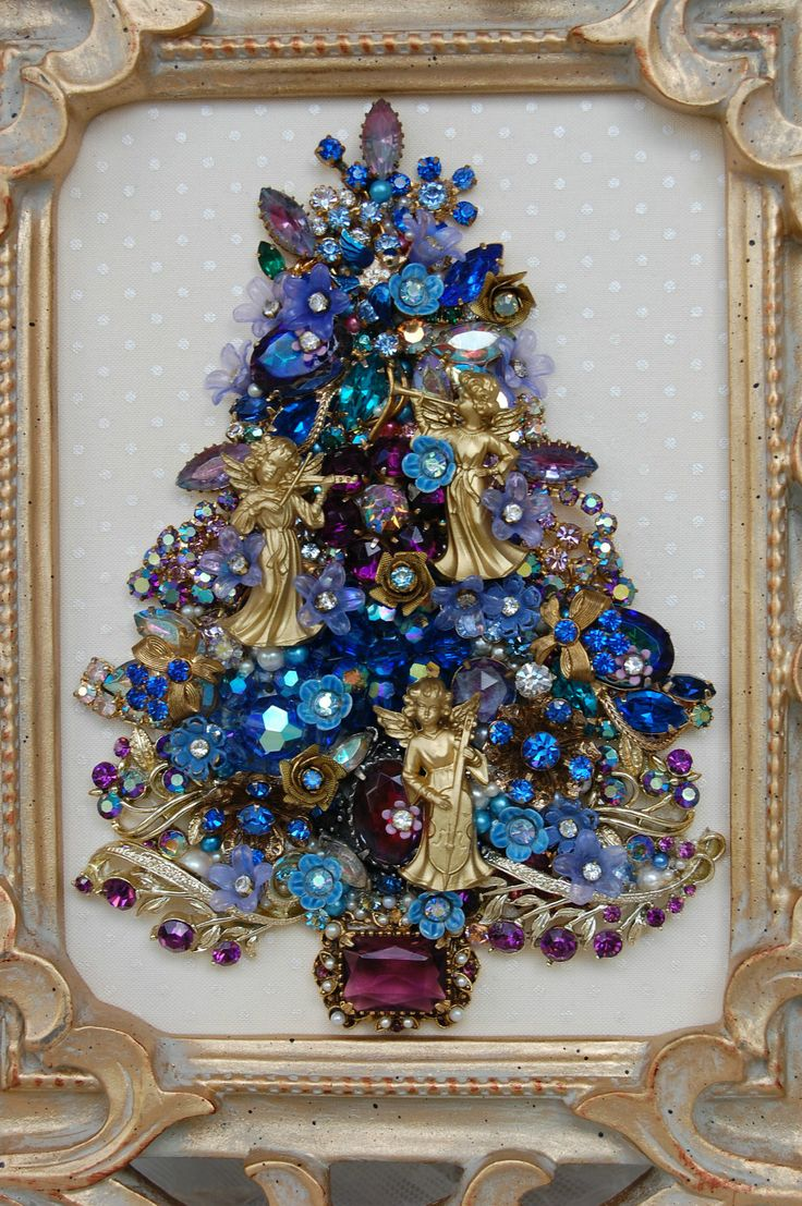 Rhinestone jewels for crafts - Vintage Jewelry Framed Christmas Tree Blue Lavender Florals Jewels Angels Ebay