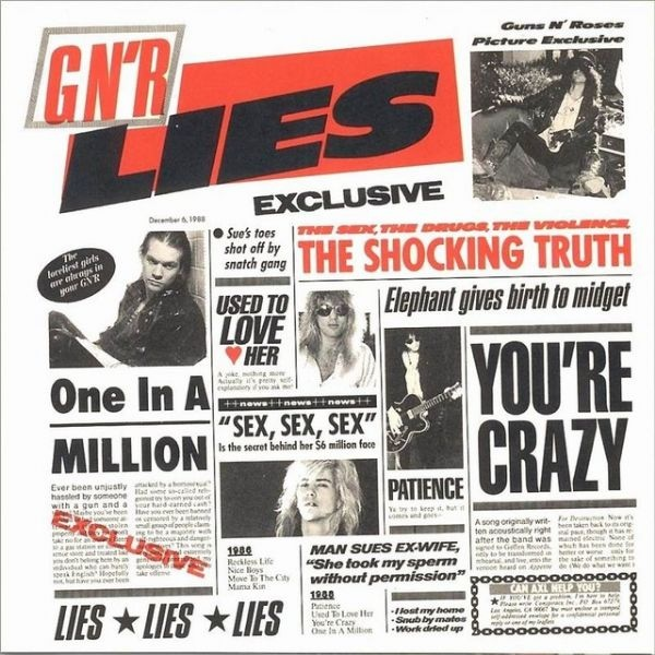 this is the album cover for guns n roses 2nd album, even they follow a grid. looks like a newspaper