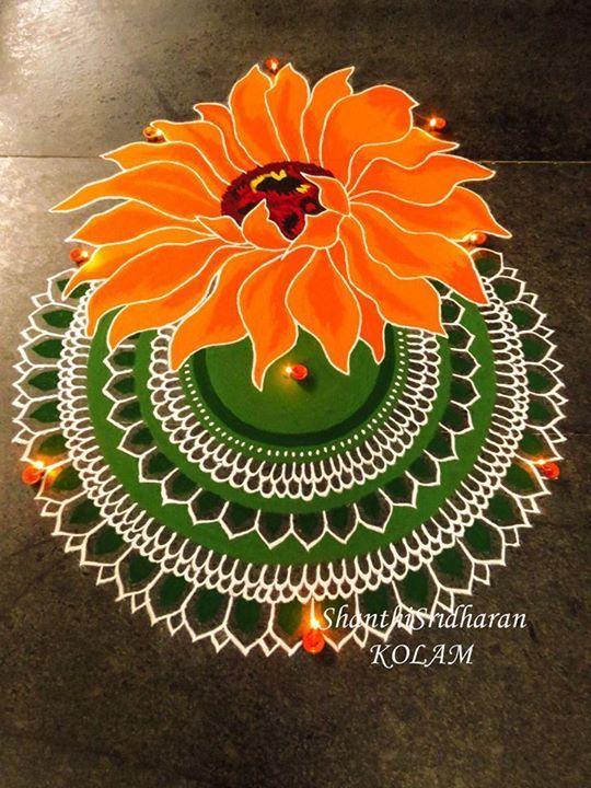 #mandala#orange#flower#kolam