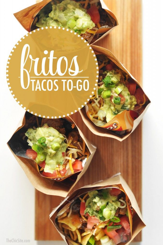 Fritos Tacos To-Go -  Fritos topped with seasoned beef, cheese, guacamole, sour cream and tomatoes!