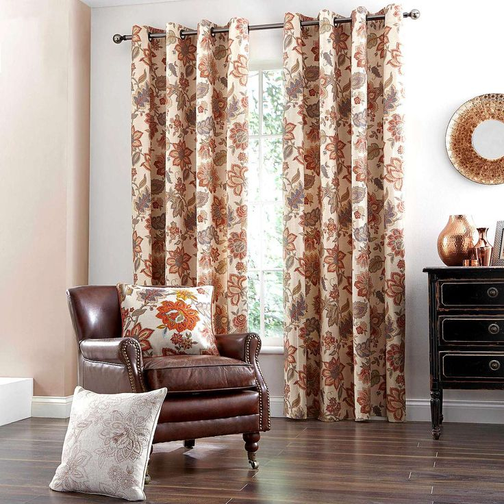 Natural Jacobean Lined Eyelet Curtains | Dunelm