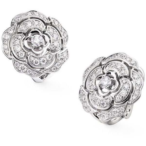 Chanel BOUTON DE CAMELIA Stud Earrings in 18K White Gold and Diamonds ($9,100) ❤ liked on Polyvore featuring jewelry, earrings, jewelry earrings, diamond earrings, chanel earrings, diamond stud earrings, white gold diamond jewelry and 18 karat gold stud earrings