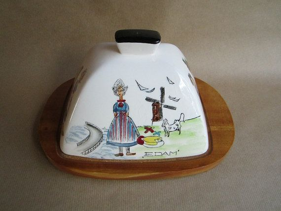 Vintage Rectangular Mid Century Modern Scandinavian Style Cheese Cover&Board Decorated w/ Different Cheese Names and Cheese Girls Breakfast on Etsy, $27.15