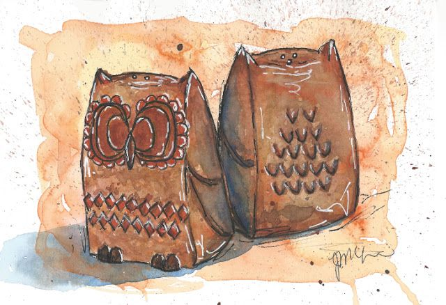 Little pottery owl salt & pepper shakers from my early childhood.