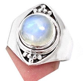 Like a Full Moon This Is a Magnificent Genuine White-Bluish MOONSTONE Round Gemstone, 925 Sterling Silver Statement Jewellery Ring Sz.8 by Ameogem on Etsy