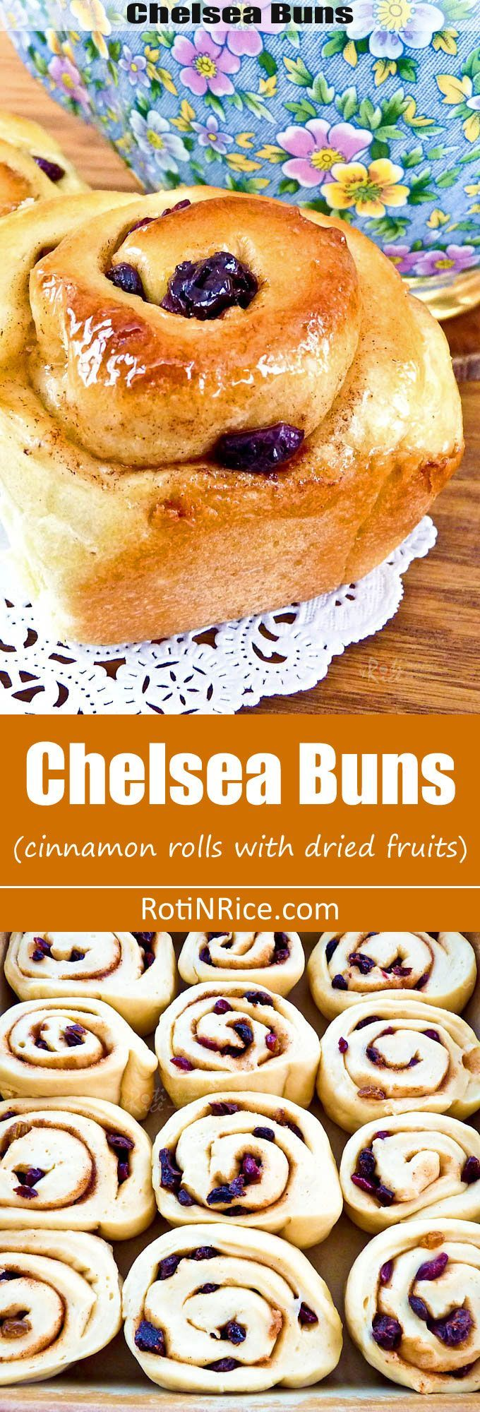 Sweet and sticky Chelsea Buns filled with a mix of spices, raisins, and cranberries. Delicious eaten warm fresh out of the oven. | http://RotiNRice.com