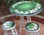 Mesa com Banquetas Floral Mosaico