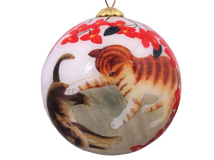 Playful Kitten and Flower Theme Glass Ball Ornaments