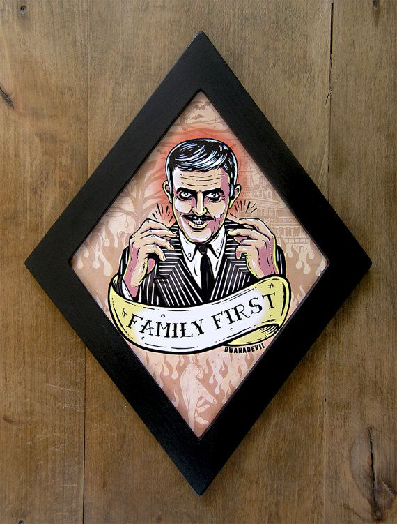 Gomez Addams Family First diamond framed print. by bwanadevilart
