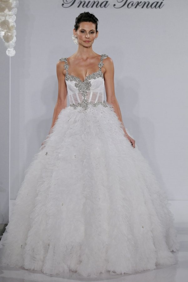 Pnina tornai wedding dress beaded straps and for See through corset top wedding dress