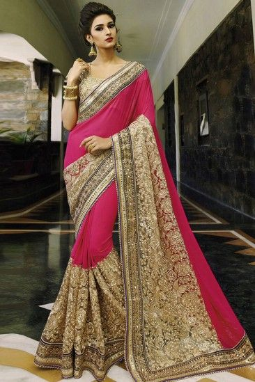 d72028ea91 Erica fernandes pink and cream Georgette and net Saree With Blouse -  DMV11275 | Party sarees | Saree wedding, Chiffon saree, Party wear sarees