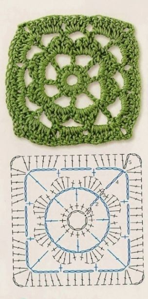 Point crochet motif carré simple avec diagramme