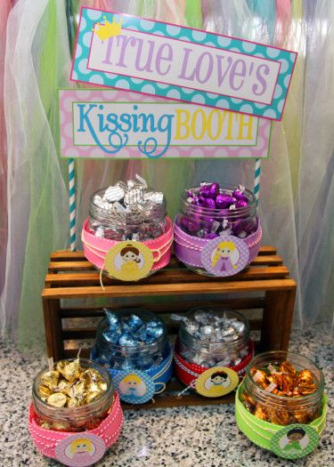 "Princess Party: Aubrey's 4th Birthday Storybook Celebration (Part 1) - ""True Love's Kissing Booth"" with assorted colored ""Kisses"" to represent each princess - such a cute idea!"