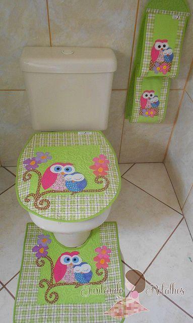 jogo banheiro mamãe coruja verde xadrez | Flickr: Intercambio de fotos