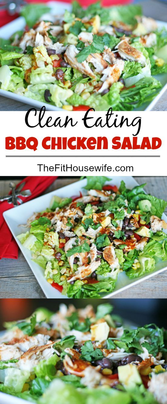 Clean Eating BBQ Chicken Salad. The perfect recipe for summertime grilling. 21 Day Fix: 1 yellow, 1 green, 1 red, 1 orange