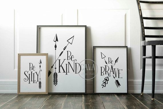 Nursery Arrow Wall Art,PRINTABLE Arrow Kids Wall Art, Woodland Nursery Prints, Childrens prints, Baby Shower Gift, Arrow Wall Art, Be Kind