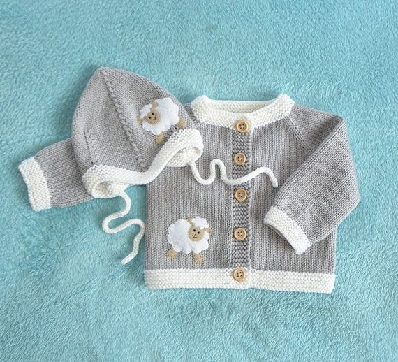 Lamb baby set grey and white merino jacket and hat wool sweater with sheep MADE TO ORDER