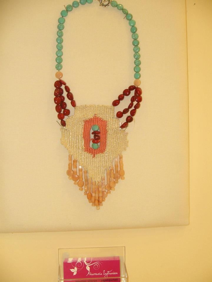Anastasia Iordanaki-necklace: cotton, coral ,turqoise and rose aventurine beads