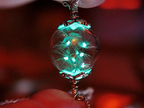 "Luminous DANDELION seeds pendant ""GLOW in the DARK"""