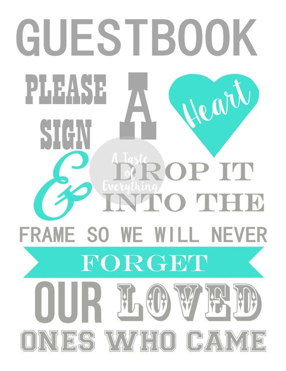 8.5x11 Guestbook please sign a heart INSTANT door atasteofeverything