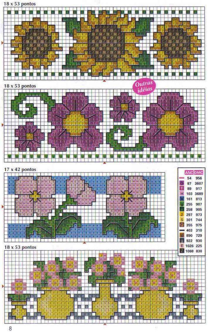 Schema punto croce Bordi-fiori-vari-2