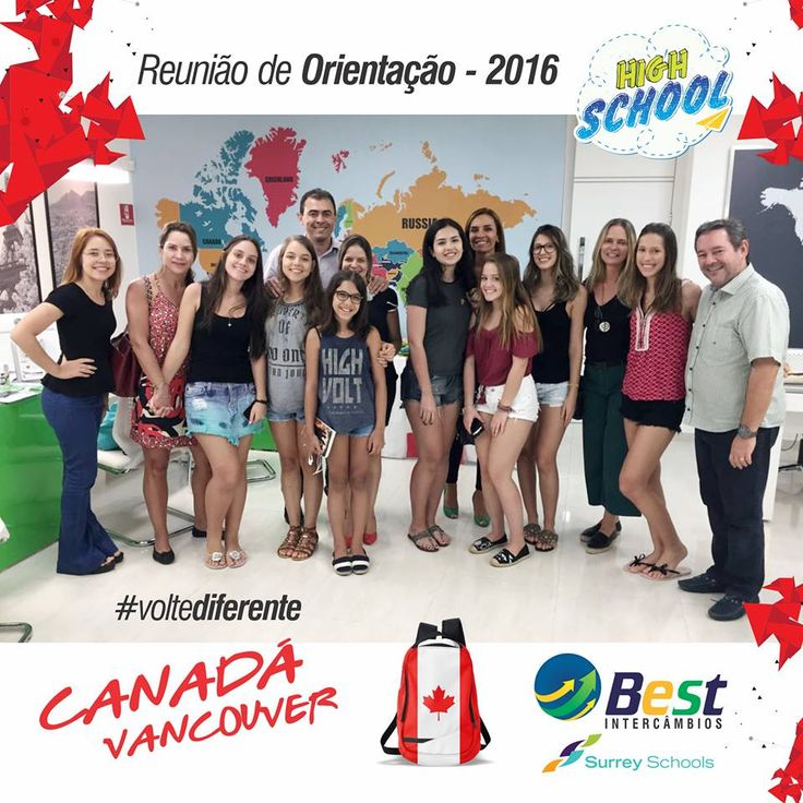 HIGH SCHOOL - REUNIÃO DE ORIENTAÇÃO 2016. CANADÁ / 2017  Cursar uma parte do ensino médio no exterior é um grande passo na vida do estudante.   A Best Intercâmbios realizou uma reunião preparatória de orientação para os intercambistas, no dia 15/12/16, antes do embarque para o Canadá e envolveu estudantes e pais.  O encontro foi um tanto quanto diferente, pois eles assistiram vídeos de depoimentos de ex-intercambistas, que contaram tudo sobre: casa de família, amigos, atividades…