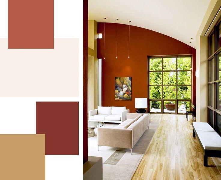 Burgundy per il soggiorno, in tonalità mattone.