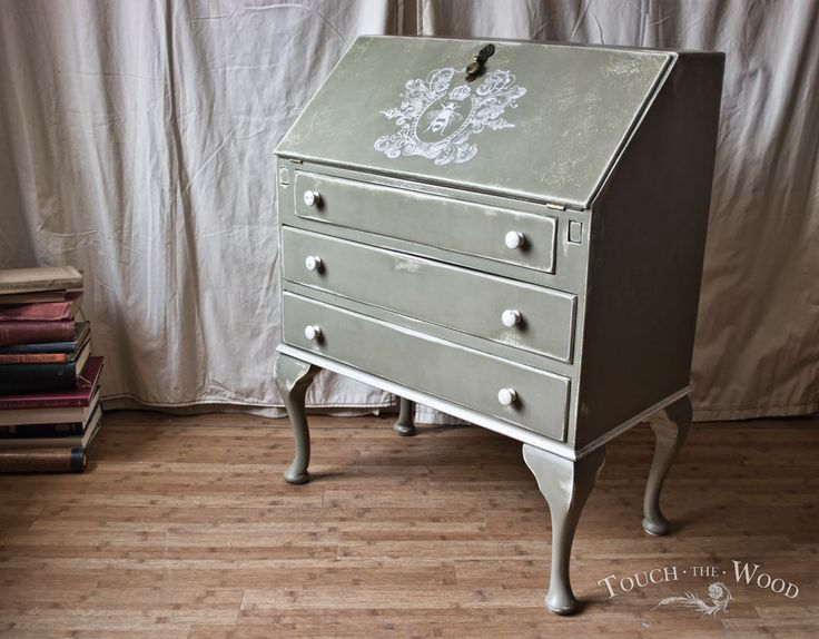 Antique Shabby Chic Bureau on Sale - Vintage 1930s writing desk with Victorian printing, visit us for more Antique & Shabby Chic furniture