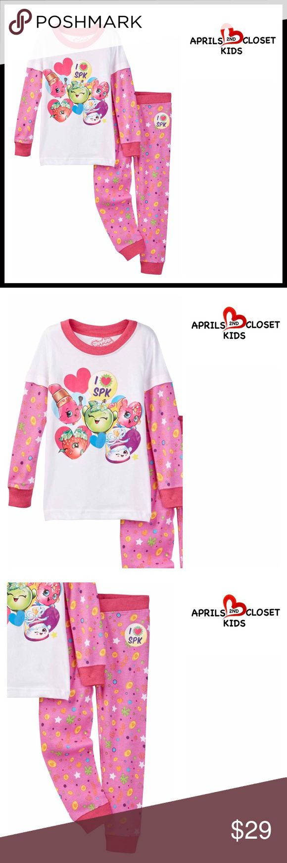 SHOPKINS Pajama Set 2-Piece 💟NEW WITH TAGS💟  SHOPKINS Pajama Set  * Super soft & comfy  * 2 piece set  * Ribbed trim  * Long two-fer waffle print sleeve top  * Front graphic print   * Elastic waist pants & jogger cuff   Material: 100% cotton Color: Heart pink  Item# Search words #   🚫No Trades🚫 ✅ Offers Considered*✅ *Please use the blue 'offer' button to submit an offer. Shopkins Pajamas Pajama Sets