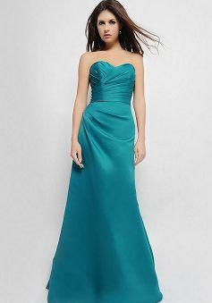 Sweetheart Sleeveless A line Zipper up Floor Length Satin Bridesmaid Gowns - Angeldress.co.uk